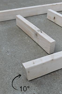 diy wood projects - blanket ladder - angling the bottom 10 degree angle