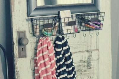 diy makeup station organizer upcycled old door baskets mirror