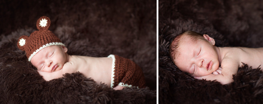Newborn in bear outfit