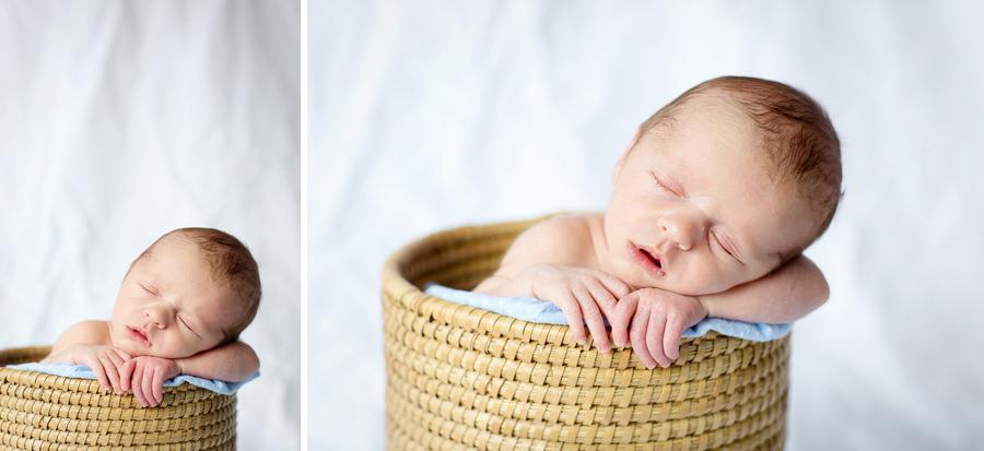Newborn photos in basket