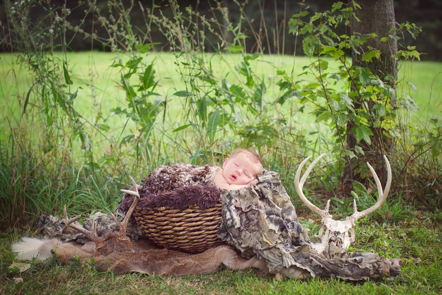 hunting themed newborn photo