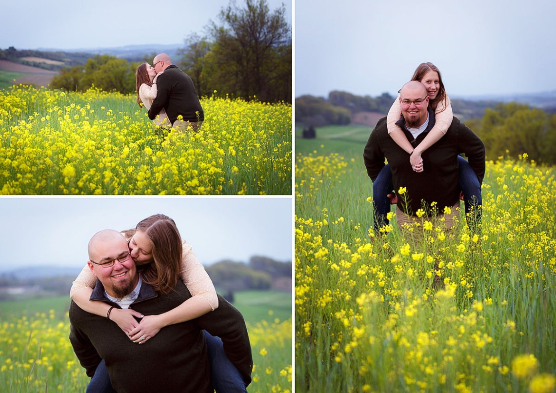 Engagement Photos in wildflower field
