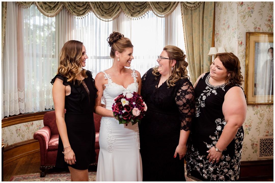 black dresses on bridal attendants