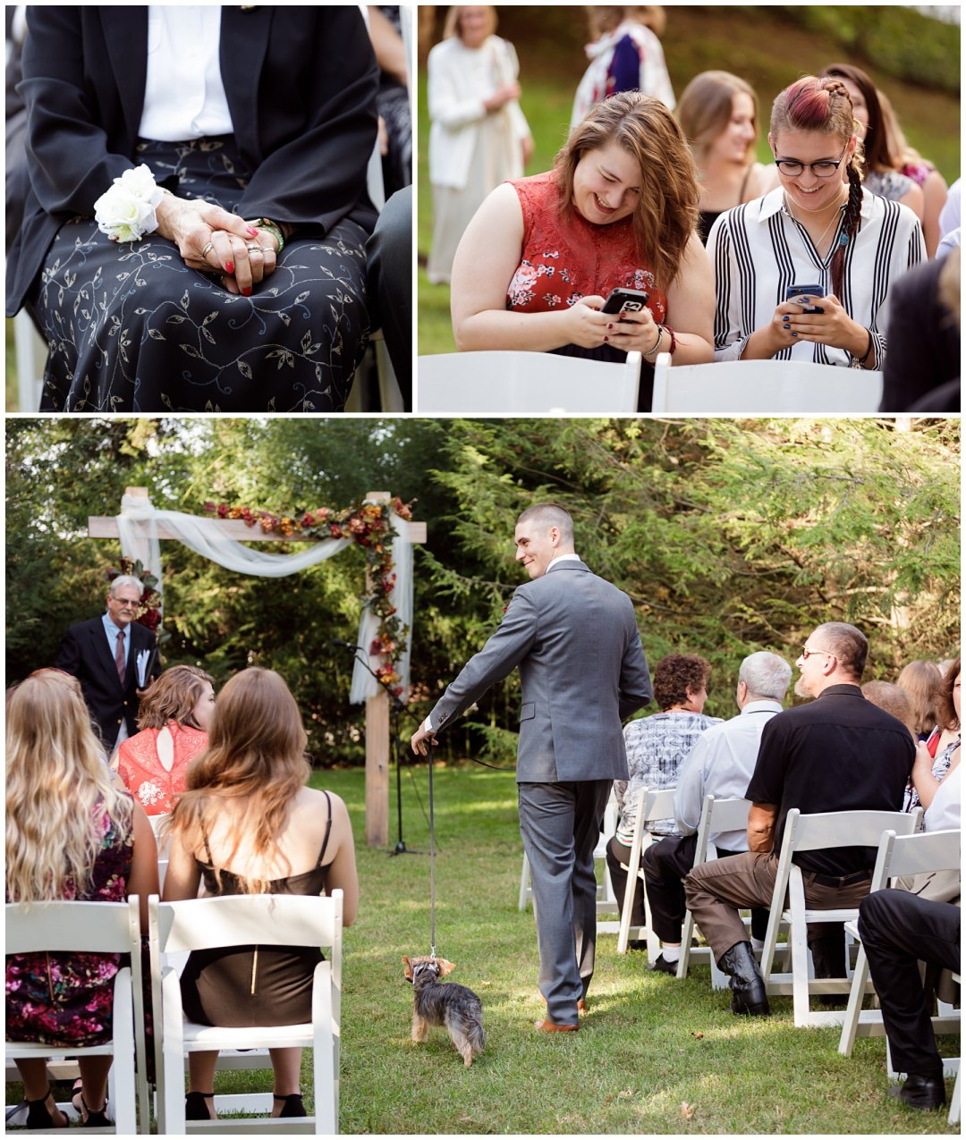 grandmas hands at ceremony and puppy