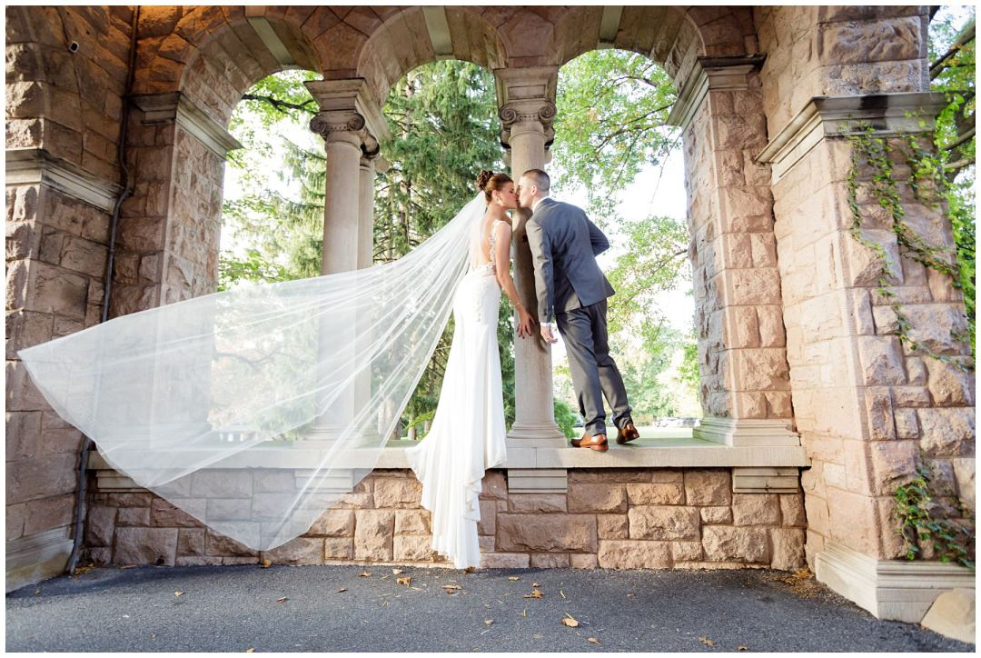 bridal couple photo with flowing veil