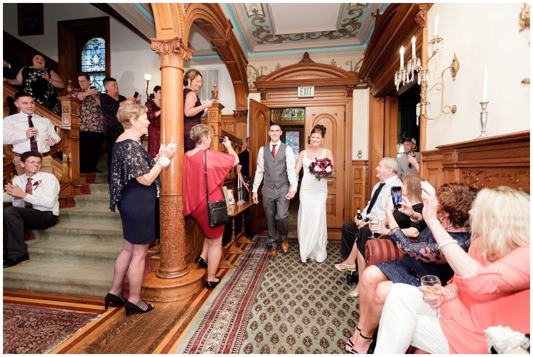 bride and groom entrance at historic hotel