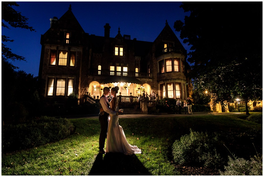 mysterious night shot at historic wedding venue in reading pa