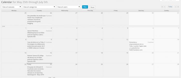calendario editorial Pluging Calendar View