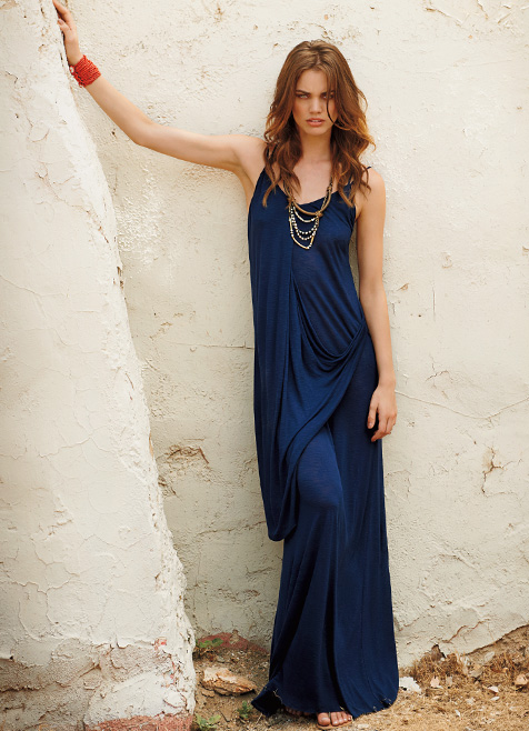 Drape Front Racerback Maxi Dress by Michael Stars