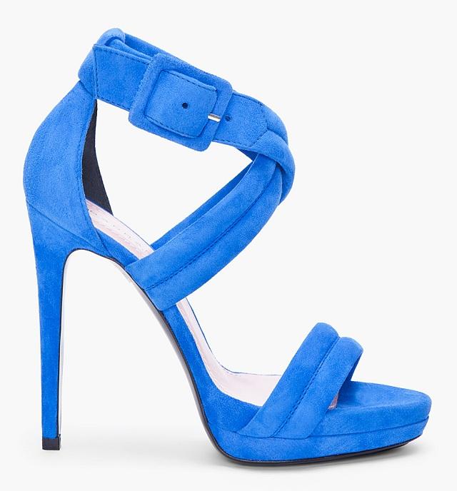 Barbara Bui Blue Cross Strap Nubuck Heels