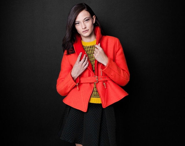 Kenzo Orange Wool Peplum Jacket
