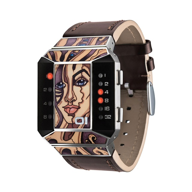01TheOne Unisex Split Screen Art Edition Red LED Brown Leather Watch