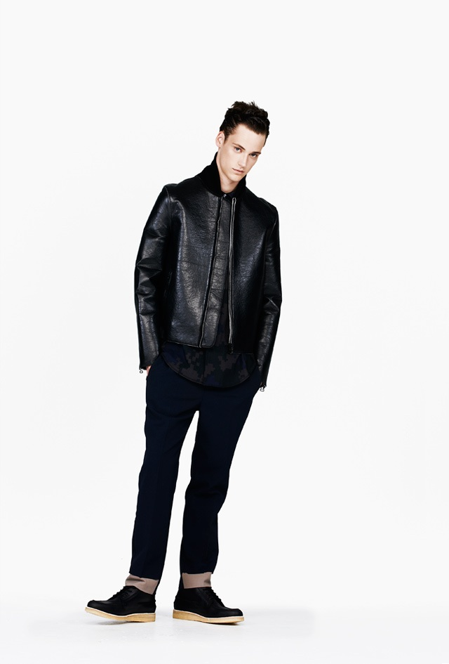 3.1 Phillip Lim Black Sculpted Leather Sports Jacket