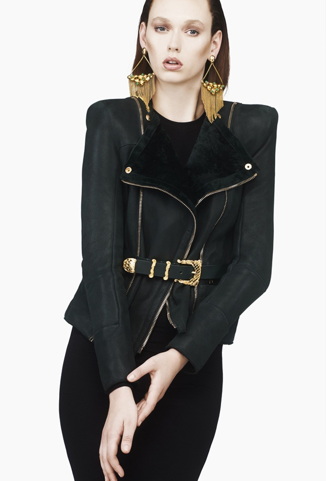 Balmain Dark Green Suede Jacket