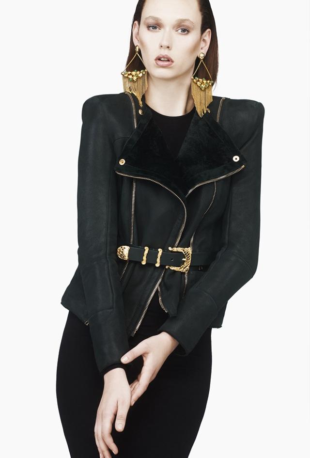 Balmain Dark Green Suede Jacket