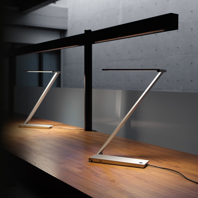 BE Light Task Lamp by QisDesign for Square Walnut