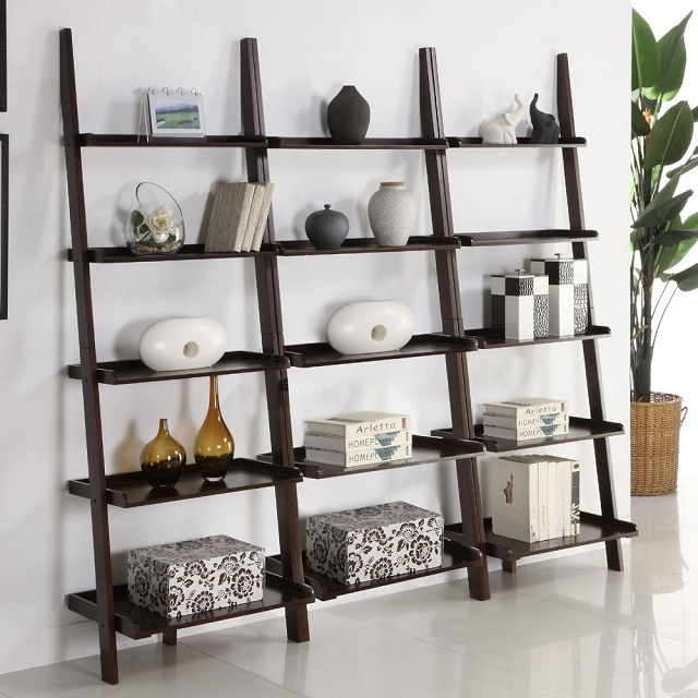 Walnut Five Tier Ladder Shelf