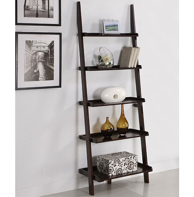 Walnut Five Tier Ladder Shelf_3