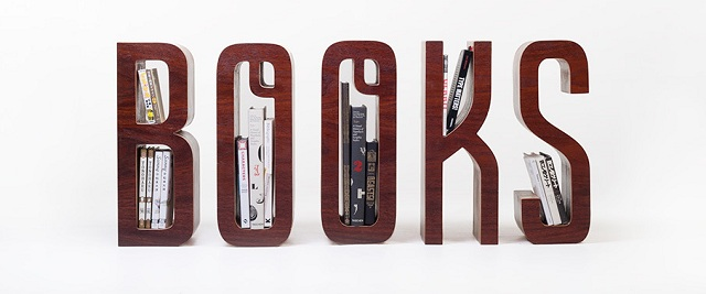 Wooden Typographic Bookshelf