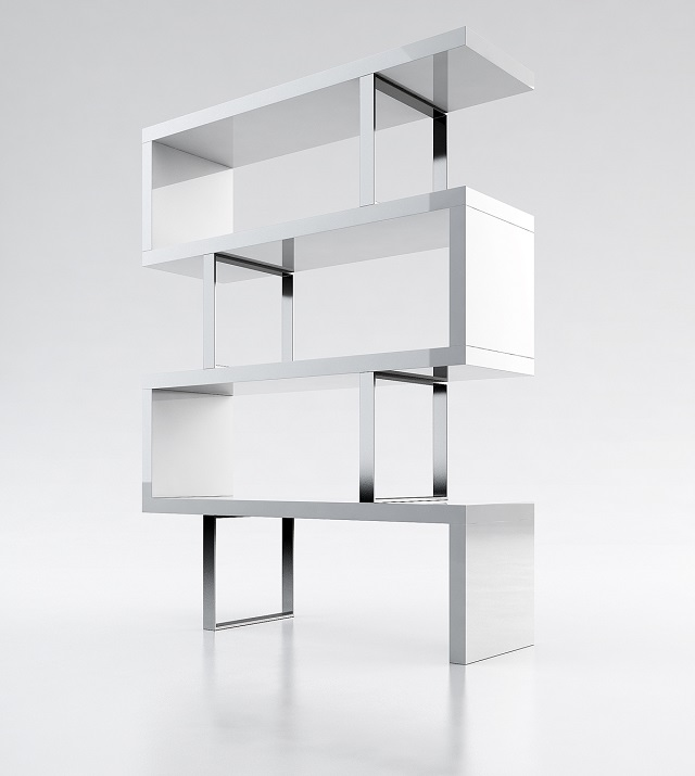 Modloft Pearl Bookcase_White lacquer