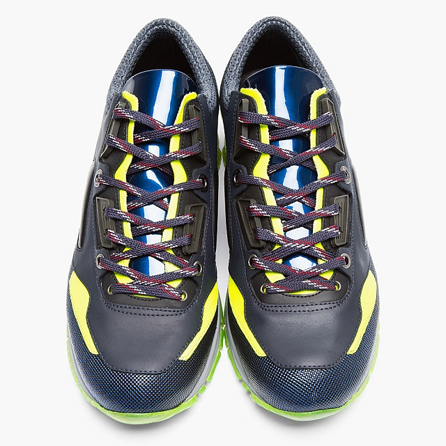 Lanvin Black Leather Neon-trimmed Trainers_7