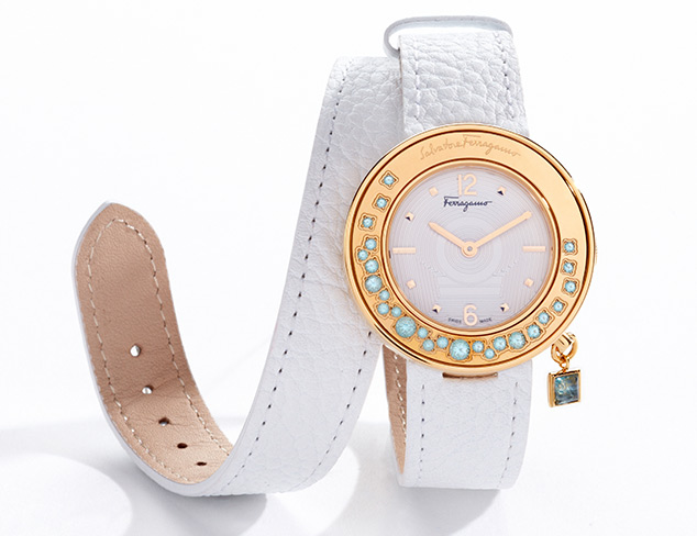 Salvatore Ferragamo Gancino Gold Ion-Plated Rotating Turquoise Stone Bezel Leather Band Watch
