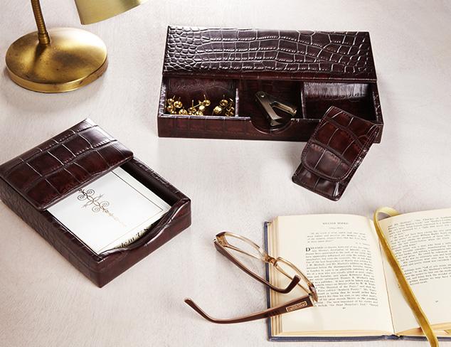 Trafalgar Crocodile-Embossed Desk Set
