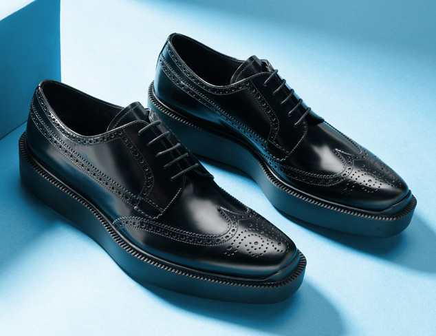 Prada Lace-Up Brushed Leather Derby Shoe
