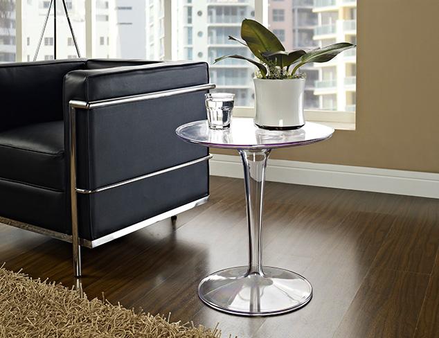 Eero Saarinen Lippa Clear Side End Table