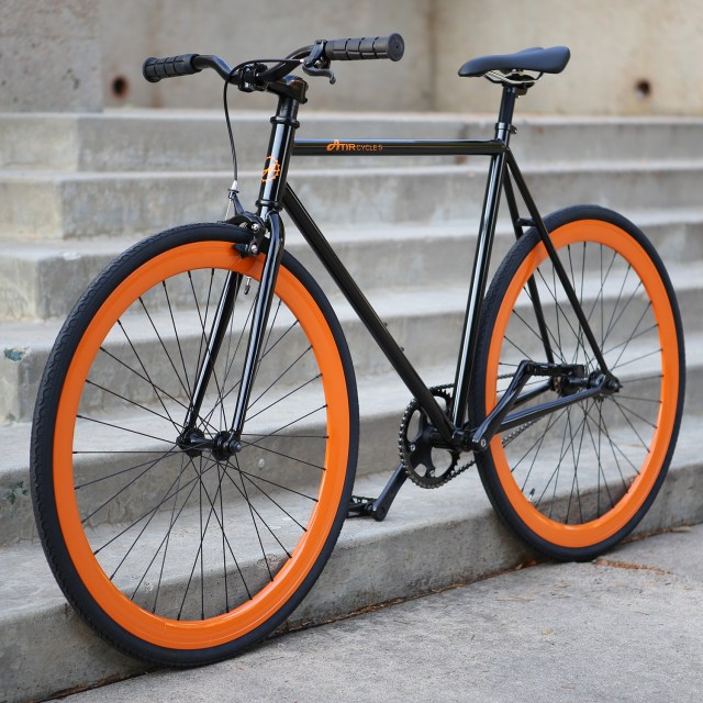 ATIR Cycles Single Speed / Fixed Gear Urban Road Bike in Black + Orange