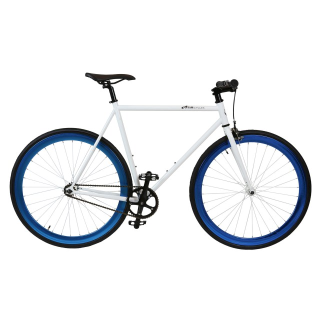 ATIR Cycles Single Speed / Fixed Gear Urban Road Bike in White + Blue