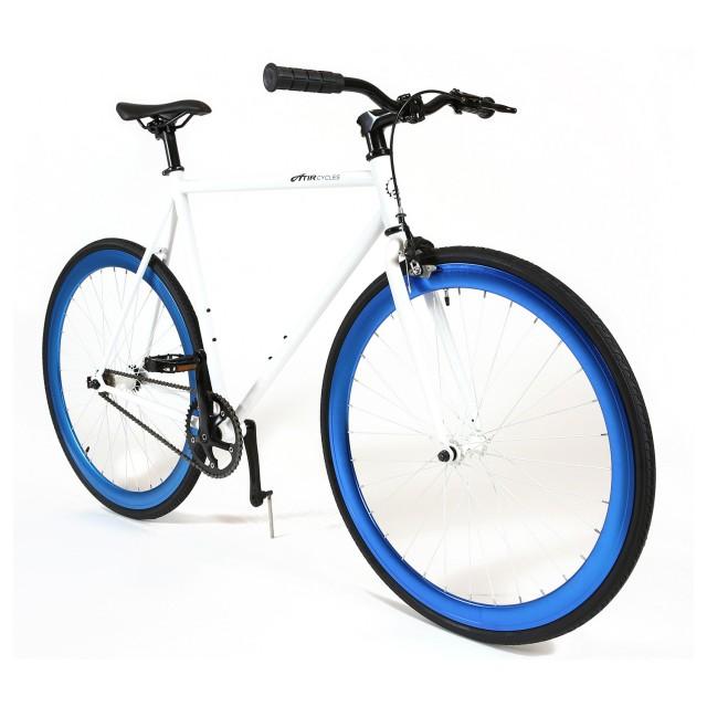 ATIR Cycles Single Speed / Fixed Gear Urban Road Bike in White + Blue