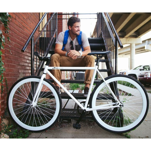 ATIR Cycles Single Speed / Fixed Gear Urban Road Bike in White + White