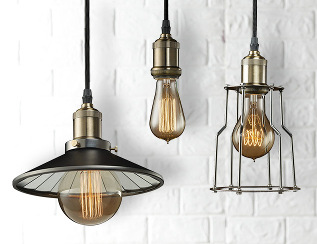 Bulbrite Vintage 1-Light Brass Mini Pendants