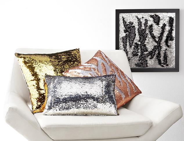 Aviva Stanoff Interactive Sequin Art & Pillows at MYHABIT