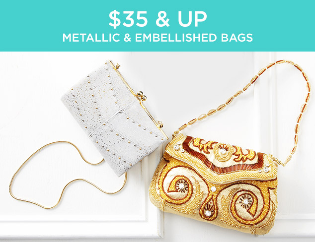 $35 & Up: Metallic & Embellished Bags at MYHABIT