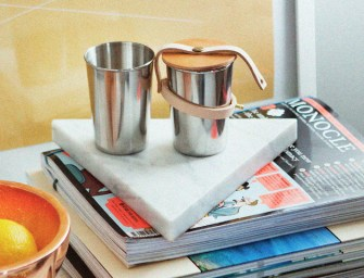 Leather & Steel Cup Set by Yield Design