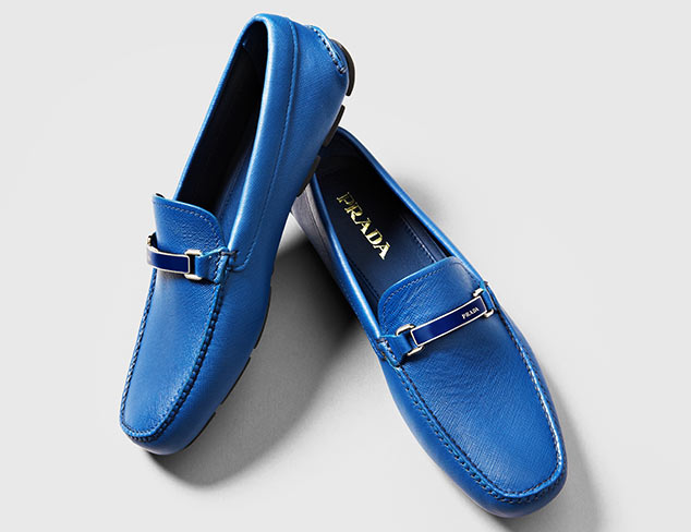 Prada Bright Blue Leather Penny Loafers