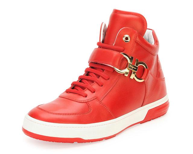 Salvatore Ferragamo Nayon Gancini Leather High-Top Sneakers_2