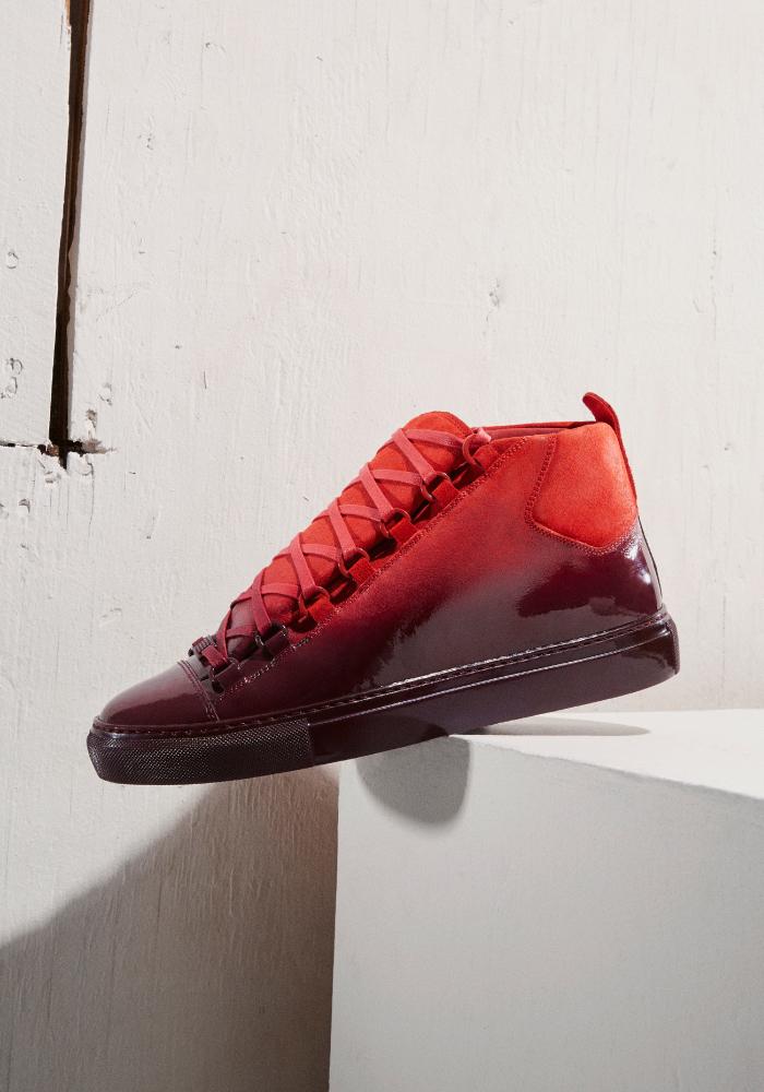Balenciaga Red Suede Ombré High-Top Sneakers
