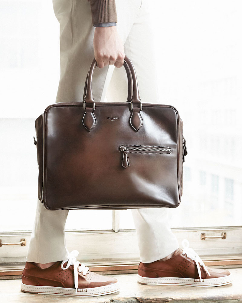 Berluti Three-Zip Leather Briefcase