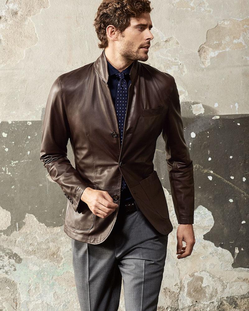 Brunello Cucinelli Leather Three-Button Blazer
