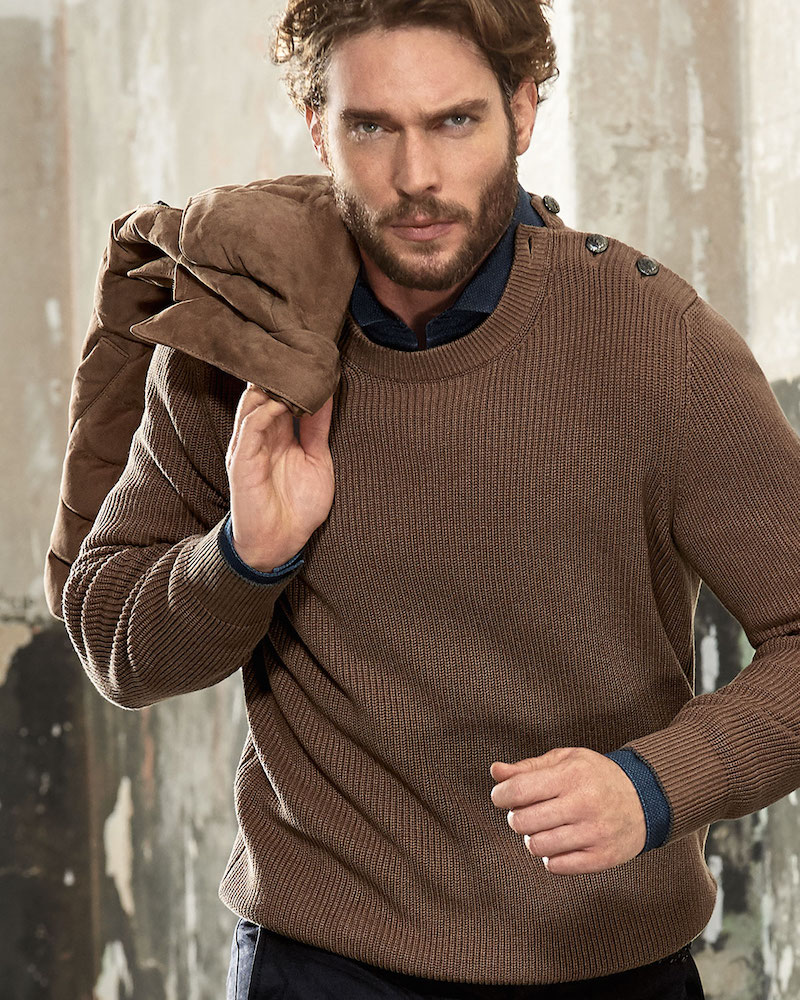 Brunello Cucinelli Ribbed Knit Sweater with Crested Buttons