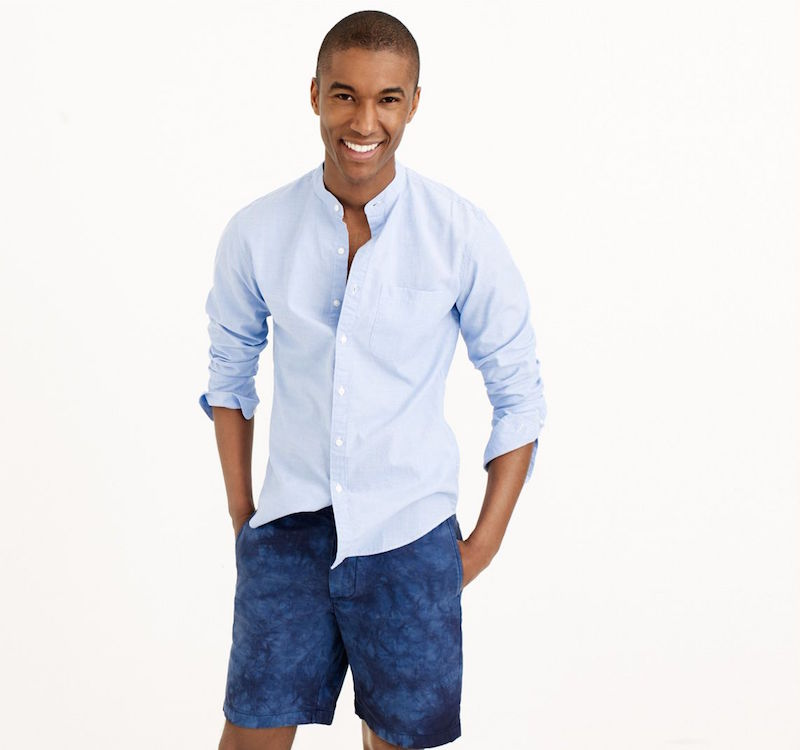 J.Crew Secret Wash Band-collar Shirt in End-on-End Cotton