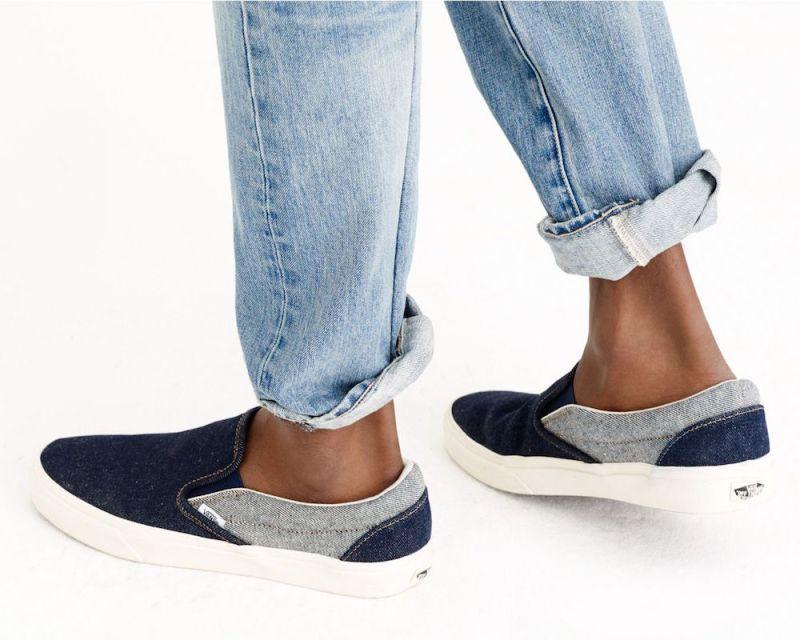 Vans For J.Crew Classic Slip‑On Sneakers In Two‑Tone Denim