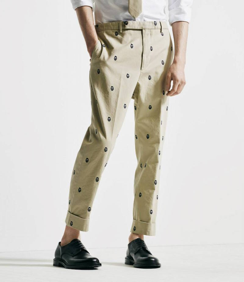 Wooster + Lardini Embroidered Face Drop-Rise Trousers