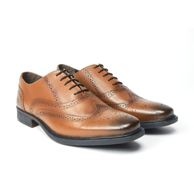 Redfoot Burnished Oxford Brogue in Tan