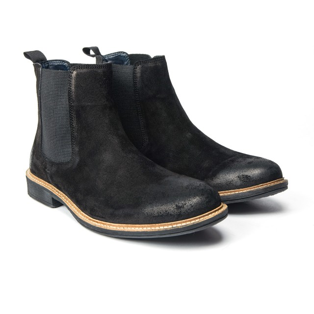 Redfoot Clough Suede Chelsea Boot in Black
