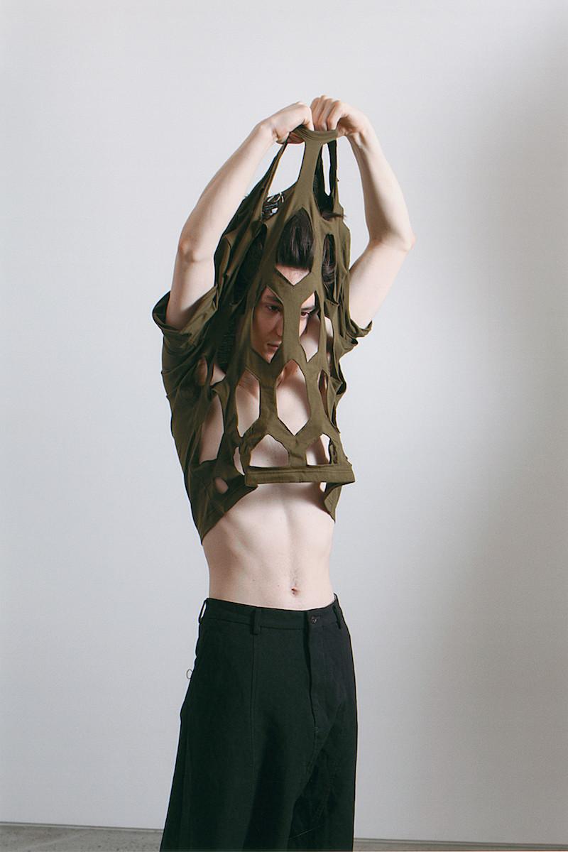 Comme des Garçons Homme Plus Khaki Green Hexagon Cut-Out T-Shirt