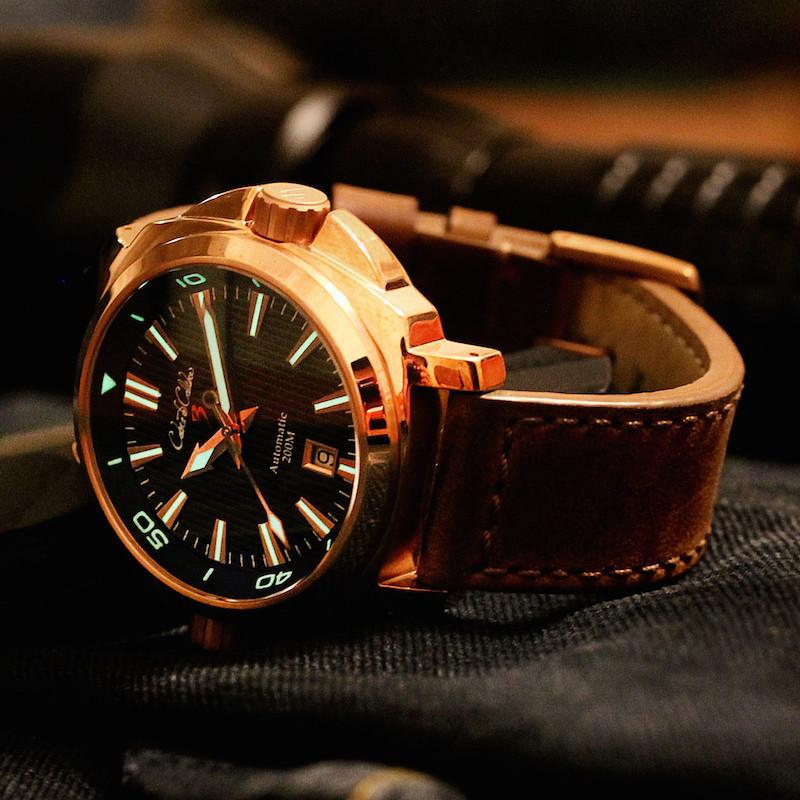 Cobra de Calibre CuSn8 Bronze Dual Crown Black Dial Automatic Watch